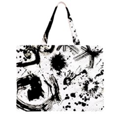 Pattern Color Painting Dab Black Large Tote Bag