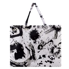 Pattern Color Painting Dab Black Zipper Large Tote Bag