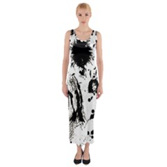 Pattern Color Painting Dab Black Fitted Maxi Dress
