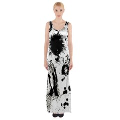 Pattern Color Painting Dab Black Maxi Thigh Split Dress