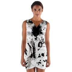 Pattern Color Painting Dab Black Wrap Front Bodycon Dress