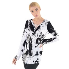 Pattern Color Painting Dab Black Women s Tie Up Tee
