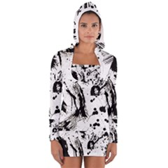 Pattern Color Painting Dab Black Women s Long Sleeve Hooded T-shirt