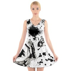 Pattern Color Painting Dab Black V-Neck Sleeveless Skater Dress
