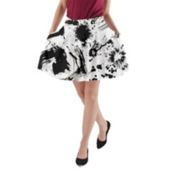 Pattern Color Painting Dab Black A-Line Pocket Skirt
