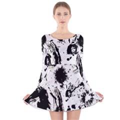 Pattern Color Painting Dab Black Long Sleeve Velvet Skater Dress