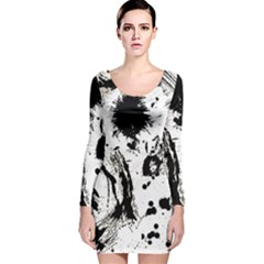 Pattern Color Painting Dab Black Long Sleeve Velvet Bodycon Dress