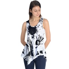 Pattern Color Painting Dab Black Sleeveless Tunic