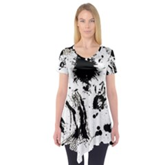 Pattern Color Painting Dab Black Short Sleeve Tunic