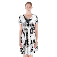 Pattern Color Painting Dab Black Short Sleeve V-neck Flare Dress