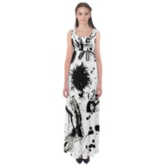 Pattern Color Painting Dab Black Empire Waist Maxi Dress