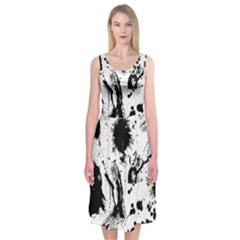 Pattern Color Painting Dab Black Midi Sleeveless Dress
