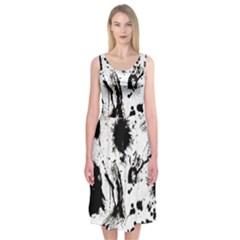 Pattern Color Painting Dab Black Midi Sleeveless Dress