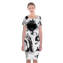 Pattern Color Painting Dab Black Classic Short Sleeve Midi Dress