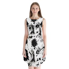 Pattern Color Painting Dab Black Sleeveless Chiffon Dress
