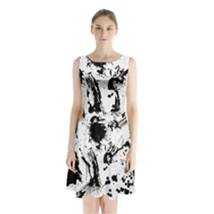 Pattern Color Painting Dab Black Sleeveless Chiffon Waist Tie Dress