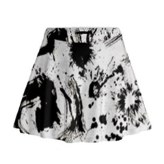Pattern Color Painting Dab Black Mini Flare Skirt