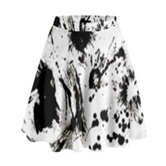 Pattern Color Painting Dab Black High Waist Skirt