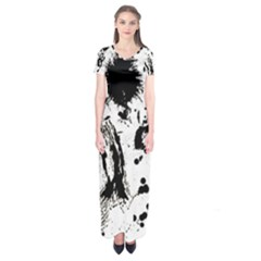 Pattern Color Painting Dab Black Short Sleeve Maxi Dress