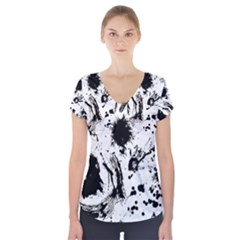 Pattern Color Painting Dab Black Short Sleeve Front Detail Top