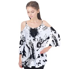 Pattern Color Painting Dab Black Flutter Tees