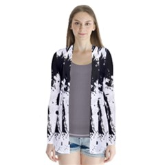 Pattern Color Painting Dab Black Cardigans
