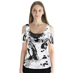Pattern Color Painting Dab Black Butterfly Sleeve Cutout Tee