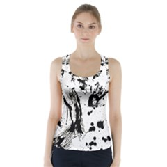 Pattern Color Painting Dab Black Racer Back Sports Top