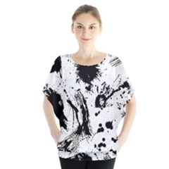 Pattern Color Painting Dab Black Blouse