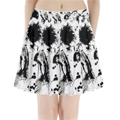 Pattern Color Painting Dab Black Pleated Mini Skirt