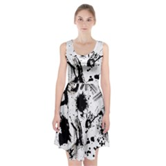 Pattern Color Painting Dab Black Racerback Midi Dress