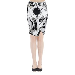 Pattern Color Painting Dab Black Midi Wrap Pencil Skirt