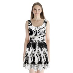 Pattern Color Painting Dab Black Split Back Mini Dress