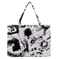 Pattern Color Painting Dab Black Medium Zipper Tote Bag