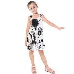 Pattern Color Painting Dab Black Kids  Sleeveless Dress