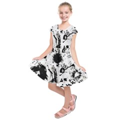 Pattern Color Painting Dab Black Kids  Short Sleeve Dress