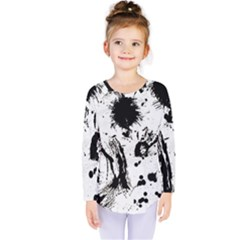 Pattern Color Painting Dab Black Kids  Long Sleeve Tee