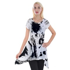 Pattern Color Painting Dab Black Short Sleeve Side Drop Tunic