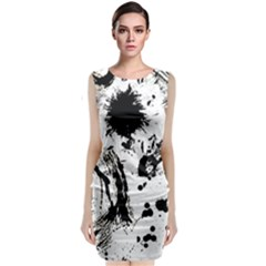 Pattern Color Painting Dab Black Sleeveless Velvet Midi Dress
