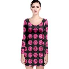 CIR1 BK-PK MARBLE Long Sleeve Velvet Bodycon Dress