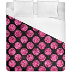 Circles2 Black Marble & Pink Marble Duvet Cover (california King Size)