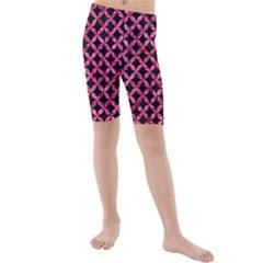 CIR3 BK-PK MARBLE Kids  Mid Length Swim Shorts