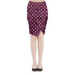 CIR3 BK-PK MARBLE (R) Midi Wrap Pencil Skirt