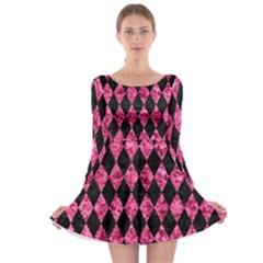DIA1 BK-PK MARBLE Long Sleeve Skater Dress