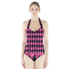 DIA1 BK-PK MARBLE Halter Swimsuit