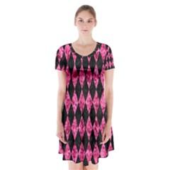 DIA1 BK-PK MARBLE Short Sleeve V-neck Flare Dress