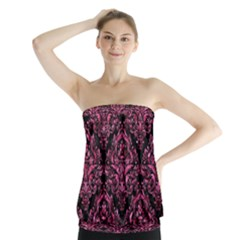 Damask1 Black Marble & Pink Marble Strapless Top