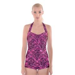 DMS1 BK-PK MARBLE (R) Boyleg Halter Swimsuit