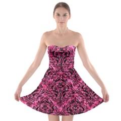 DMS1 BK-PK MARBLE (R) Strapless Bra Top Dress