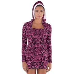 DMS2 BK-PK MARBLE Women s Long Sleeve Hooded T-shirt